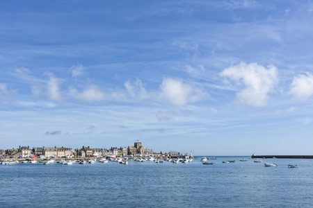 normandy: Barfleur harbor and village at Normandy, France Stock Photo