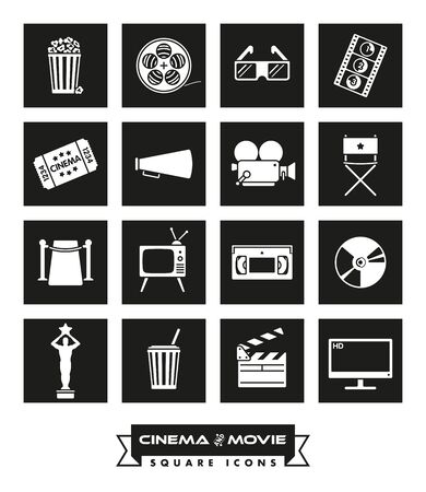 video icons: Collection of 16 cinema and movie related vector icons in colored squares with rounded corners