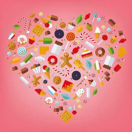 Candy, sweets, cookies and cakes icons arranged in heart shape on pink background, flat design