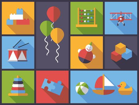 wobbly: Horizontal flat design long shadow illustration with little childrens toys