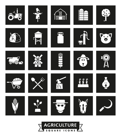 Farming and agriculture vector square icons collection