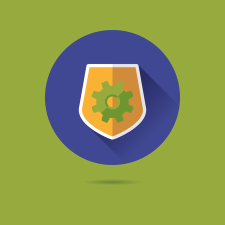 protective shield with cog flat design long shadow vector icon
