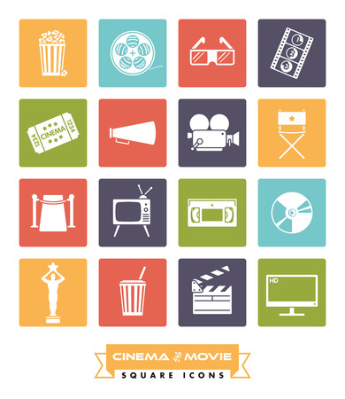 cordon: Collection of 16 cinema and movie related vector icons in colored squares with rounded corners