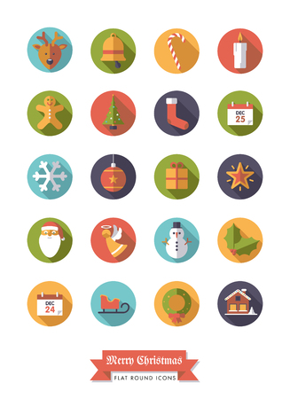 long socks: Collection of Christmas Holidays and winter season flat design long shadow icons in circles