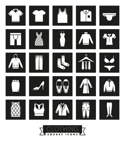 Collection of fashion and clothing vector icons, negative in black squares