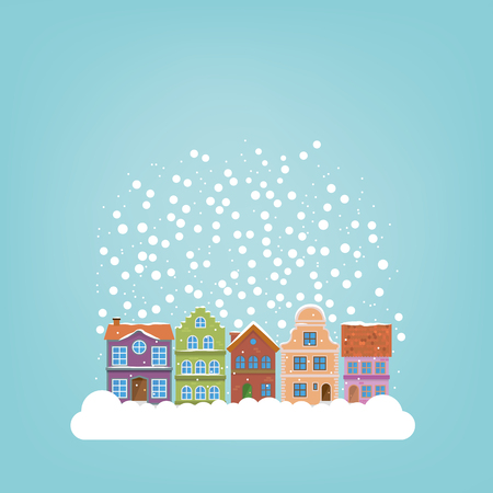 idyll: Snow falling on winter village templates for use in seasonal greetings Illustration