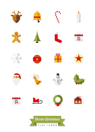 christmas cookie: Collection of Christmas Holidays and winter season flat design isolated icons