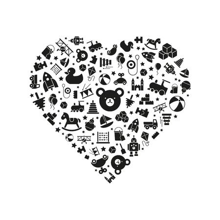 varietà di icone giocattoli disposti in forma di cuore, nero su sfondo bianco
