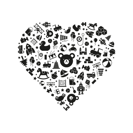 heart puzzle: variety of toys icons arranged in heart shape, black on white background Illustration