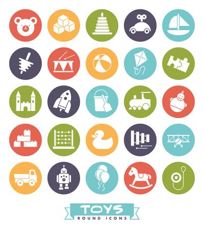 vaso de precipitado: Colección de redondo de color negro sólido para niños iconos de juguetes Vectores