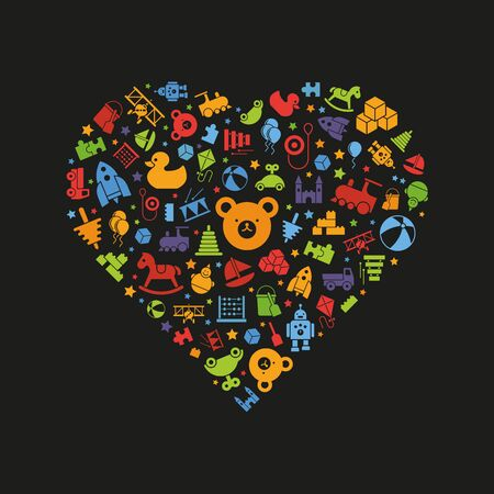 variedad de iconos de juguetes dispuestos en forma de corazón, símbolos de colores vibrantes en el fondo negro