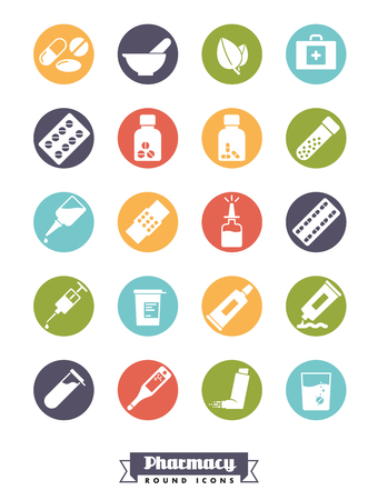 Collection of solid color round pharmacy and medicine glyph icons