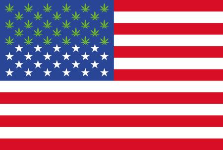 星のインフォ グラフィックではなく 28 マリファナの葉を持つ米国旗  イラスト・ベクター素材