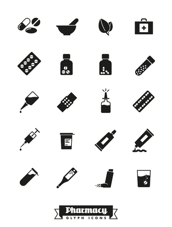 fizzy tablet: Collection of solid black pharmacy and medicine glyph icons