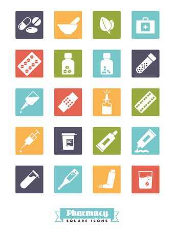 fizzy tablet: Collection of solid color square pharmacy and medicine glyph icons
