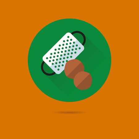 nutmeg and grater flat design long shadow vector icon