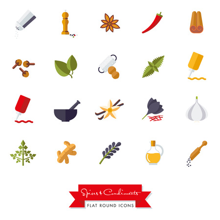 cloves: Collection of spices, condiments, herbs and seasoning flat design isolated icons