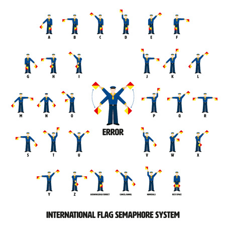 Vector illustration of sailors performing ten international flag semaphore alphabetic system. All objects grouped, named and layered. Ilustração