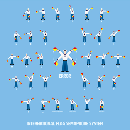 Vector illustration of sailors performing international flag semaphore alphabetic system. All objects grouped, named and layered. Ilustração