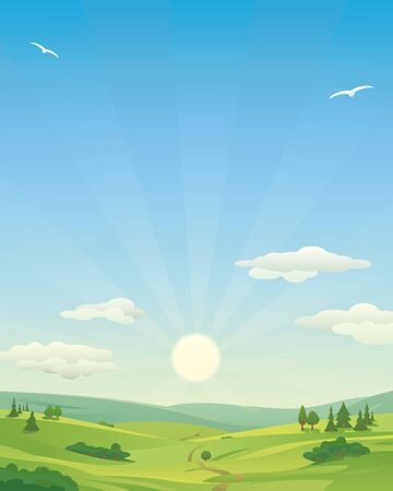 idyllic: Sunrise over idyllic landscape, with rolling hills and clouds in the sky. Copy Space, Vertical.