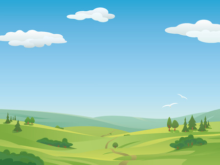 Idyllic landscape with rolling hills and blue sky. Copy Space.