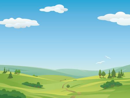Paysage idyllique avec des collines et le ciel bleu. Espace texte.