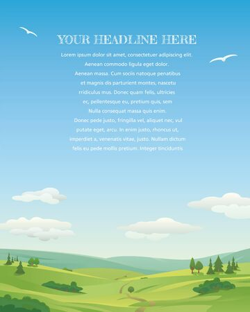 Idyllic landscape, with rolling hills and blue sky, template with sample text. Vertical.