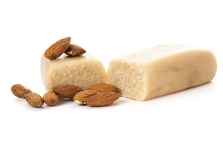 Marzipan bar with almonds isolated on white backgroundbar,