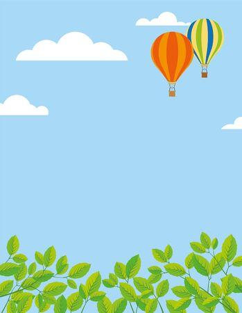 springtime: Background for springtime, border of leaves at bottom, balloons in blue sky, large copy space Illustration