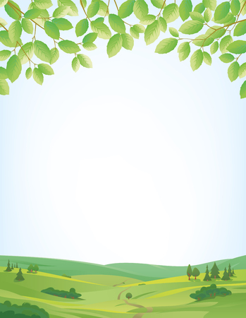 idyllic: Background for springtime, border of leaves at top, idyllic landscape at bottom, large copy space