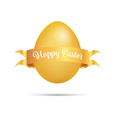 Easter Greetings with golden egg and scroll isolated Illusztráció