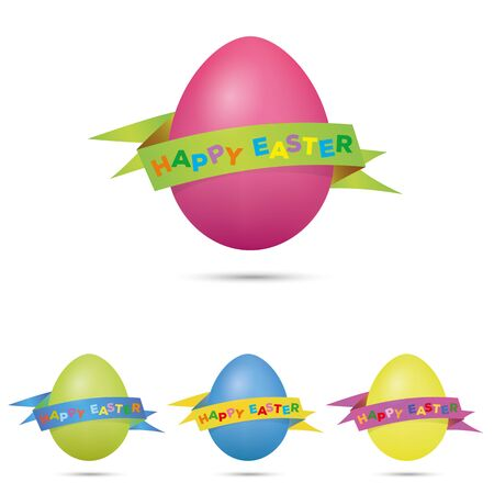 Easter greetings, vibrant eggs with banner isolated Illustration