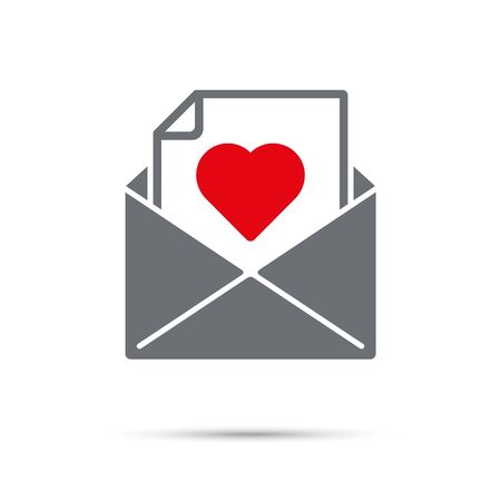 Love letter icon for Valentines Day. Message with red heart in envelope.