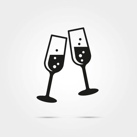 Toasting with two glasses of champagne on new years eve glyph icon Иллюстрация