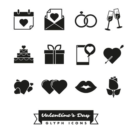 arrow poison: Set of twelve Valentines Day, Love and Romance related icons