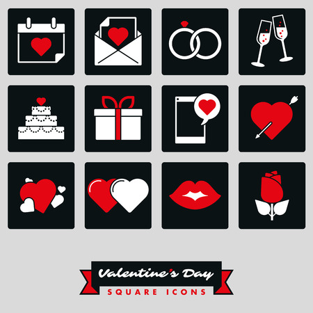 Set of twelve Valentines Day, Love and Romance related square black and white icons with red accent color Illustration
