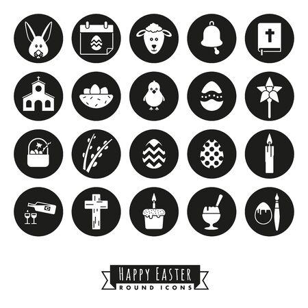 Verzameling van 20 Happy Easter Icons, negatief in zwarte cirkels Stock Illustratie