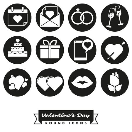 february 14th: Set of twelve Valentines Day, Love and Romance related round black icons Illustration