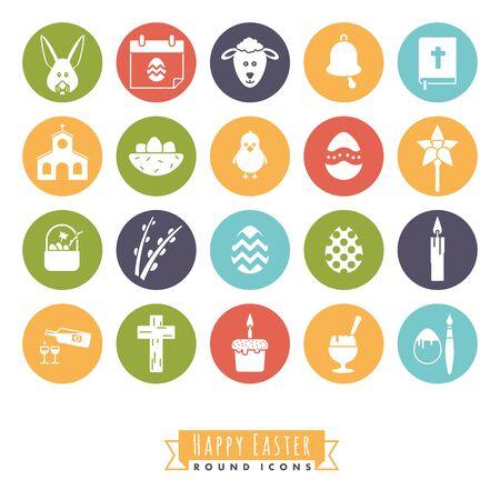 Collezione di 20 icone di buona Pasqua in cerchi di colore