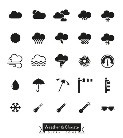sleet: Collection of weather and climate related vector icons