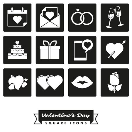 Set of twelve Valentines Day, Love and Romance related square black icons Illustration