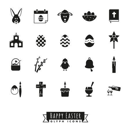 Verzameling van 20 Happy Easter glyph pictogrammen op witte achtergrond Stock Illustratie