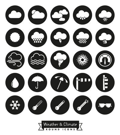 sleet: Collection of weather and climate related round black vector icons