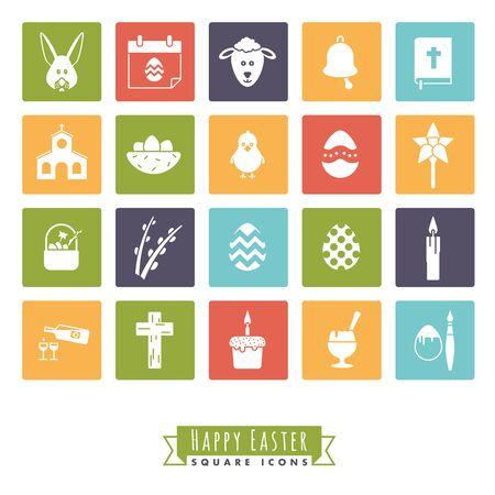 Het verzamelen van 20 Happy Easter Icons in kleur pleinen Stock Illustratie