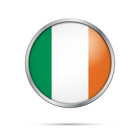 irish flag: Vector Irish flag button. Ireland flag glass button style with metal frame.