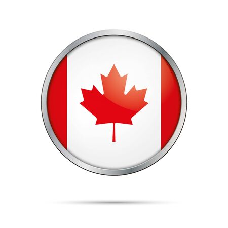 Vector Canadian flag button. Canada flag glass button style with metal frame.