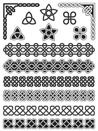 embellishments: Celtic knotted, weaved and braided elements with borders, corners and embellishments