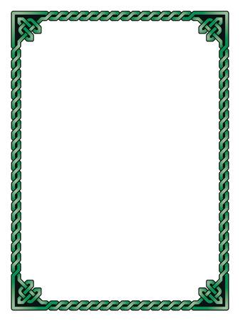 Traditional Celtic braided border, green shades, black outline Vektorové ilustrace
