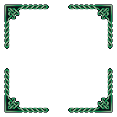 Traditional celtic braided frame elements, green shades, black outline