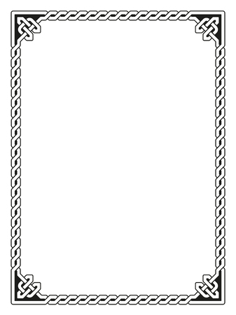 braided: Traditional Celtic braided border, black isolated on white